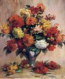 Dahlias, by Pierre-Auguste Renoir (1841-1919), oil on canvas, 65x54 cm.  Cairo, Mahmoud Khalil Museum