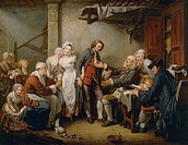 The village bride or The village agreement, 1761, by Jean-Baptiste Greuze (1725-1805), oil on canvas, 92x117 cm.  Paris, Musée Du Louvre