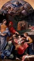 Nativity of the Virgin, 1605-1609, by Annibale Carracci (1560-1609), oil on canvas, 279x159 cm.  Paris, Musée Du Louvre