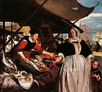 Adriana van Heusden and daughter at the New Fishmarket in Amsterdam, ca 1662, Emanuel de Witte (ca 1617-1692), oil on canvas, 57x64 cm.  London, Natio...
