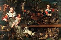 The fishmonger, ca 1580, by Vincenzo Campi (ca 1530-1591), oil on canvas, 143x213 cm.  Milan, Pinacoteca Di Brera (Art Gallery, Paintings)