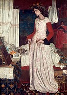 Queen Guinevere (also known as, La Belle Iseult), 1858, by William Morris (1834-1896), oil on canvas, 72x50 cm.  London, Tate Gallery