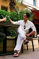 Couple having on cafe terrace