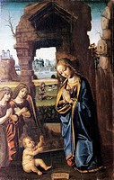 The Madonna and angels adoring the Child, 1499, by Luca Baudo (active 1481-1509, died in 1509 or 1510), oil on panel, 70x50 cm.  Savona, Pinacoteca Ci...