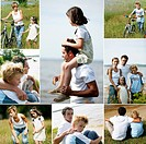 Collage of a family in the countryside