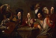 Drinking party, by Nicolas Tournier (baptized in 1590-before 1639), oil on canvas, 129x192 cm.  Le Mans, Musée De Tessé (Picture Gallery)