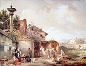The Laundry Room of a Nuns' Convent, by Giovanni Migliara (1785-1837), oil on canvas, 72x55.5 cm.  Brescia, Pinacoteca Tosio-Martinengo (Art Gallery)