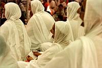 Five Jain Sadhvis lady monks in white saris at Conference ; Bombay Mumbai ; Maharashtra ; India