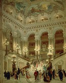 The staircase of the Paris Opera, 1877, by Louis Beroud (1852-1930), oil on canvas, 65x54 cm.  Paris, Hôtel Carnavalet (Art Museum)