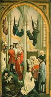 Triptych of the Seven Sacraments, right panel, by Rogier van der Weyden (1399-1464).  Antwerp, Koninklijk Museum Voor Schone Kunsten (Royal Museum Of ...