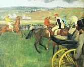 The racecourse or Gentlemen near a carriage, by Edgar Degas (1834-1917).  Paris, Musée D'Orsay (Art Gallery)