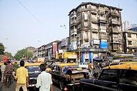 Scene on Maulana Shaukatali road ; Grant road ; Bombay now Mumbai ; Maharashtra ; India