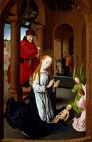 Nativity, by Hans Memling (ca 1430-1494), detail from the Triptych with the Nativity, Adoration of the Magi and Presentation in the Temple.  Madrid, M...