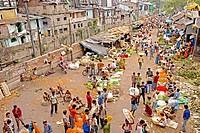 Mullick bazaar flower market scene from the Howrah Bridge ; Kolkata or Calcutta ; West Bengal ; India