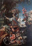 Flowers and fruit with a woman picking grapes, by Christian Berentz (1658-1722) and Carlo Maratta (1625-1713), oil on canvas, 250x175 cm.  Naples, Mus...