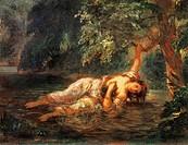 The death of Ophelia, by Eugene Delacroix (1798-1863).  Paris, Musée Du Louvre