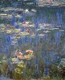 Water Lilies by Claude Monet (1840-1926), detail.  Paris, Musée National De L'Orangerie (Art Museum)