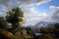 Landscape, by Pietro Ronzoni (1781-1861), oil on canvas, 153x109 cm.  Pavia, Musei Civici Del Castello Visconteo, Pinacoteca Malaspina (Art Gallery)