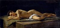 Nude Studies at the Academy of Fine Arts, 1876, by Angelo dall'Oca Bianca (1858-1942), oil on cardboard, 29x61 cm.  Verona, Galleria Civica D'Arte Mod...