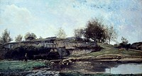 Sluice in the Optevoz Valley, 1855, by Charles Francois Daubigny (1817-1878), oil on canvas, 92x162 cm.  Rouen, Musée Des Beaux-Arts (Picture Gallery)