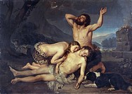 Adam and Eve mourn over Abel's body, by Carlo Zatti (1809-1899), oil on canvas, 164x231.5 cm.  Milano, Accademia Di Belle Arti Di Brera Quadreria