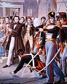 The arrest of Ciro Menotti. Unification era, Italy, 19th century. Illustration from Storia d'Italia of Paolo Giudici.