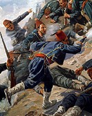Battle of Shipka, Bulgarian volunteers using rocks to keep the Turks at bay, 1877-1878. Russo-Turkish War, Bulgaria, 19th century.  Sofia, Museo Nazio...