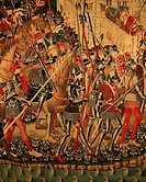The troops of King Alfonso V entering Tangier, 15th century Portuguese tapestry, preserved in the parish church of Pastrana, Castile. Morocco, the 15t...