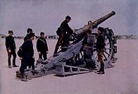 A 120mm cannon at the attack of Marchais. World War I, France, 20th century.  Paris, Musée D'Histoire Contemporaine (History Museum), Hôtel Des Invali...