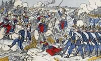 Battle of Reichshoffen or Woerth, August 6, 1870, engraving. Franco-Prussian War, France, 19th century.  Paris, Hôtel Carnavalet (Art Museum)