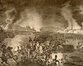 Night bombing and battle between the French and Austrians fighting to capture Vienna, 1809, print. Napoleonic wars, Austria, 19th century.  Vienna, Hi...