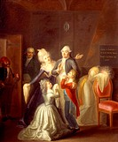 Louis XVI's farewell to his family in the Tower of the Temple, January 20, 1793, painting by an unknown 18th century French artist. French Revolution,...