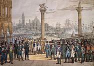 Napoleon reviewing the Kingdom of Italy's Navy in Venice, November 29, 1807, print. Napoleonic era, Italy, 19th century.  Venezia, Museo Del Risorgime...