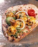 Kasturi Kebabs grilled chicken kebabs, India on naan bread
