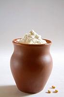 Maida , wheat flour in clay pot , India