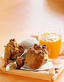 Whole Grain Muffin, Halved with Marmalade, Spoon