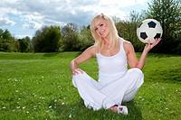 beautiful blonde doing outdoor activities
