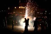 Diwali Deepawali Celebrations by bursting fire crackers at Marine Lines in Bombay Mumbai ; Maharashtra ; India