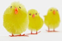 Detail view of artificial Easter chicks