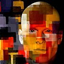 man with squares illustration