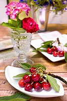 Sprigs of cherries on white plates