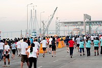 Marathon runners on sea link ; Bombay Mumbai ;  Maharashtra ; India NOMR