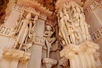 Statues engraved on pillar , Deval , Mandore , Jodhpur , Rajasthan , India