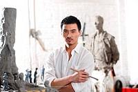 A male artist in studio