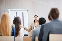 Businesswoman at flipchart leading meeting