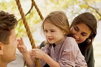 Close up of family on swing