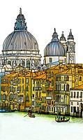 Venice, Veneto, Italy. Church of Santa Maria della Salute and the Grand Canal - photograph / digital drawing