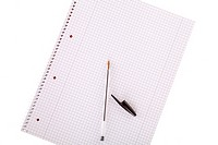white collegeblock with pen isolated on white