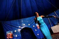 Enrique, a Salvadorean transvestite, performs at the Circo Brasilia, a family run circus travelling in Central America, 10 May 2011  The Circo Brasili...