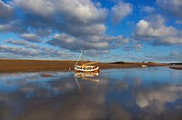 Burnham Overy Staith Norfolk fishing boat on winter morning